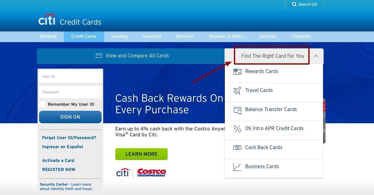 Citi Find the right Credit Card