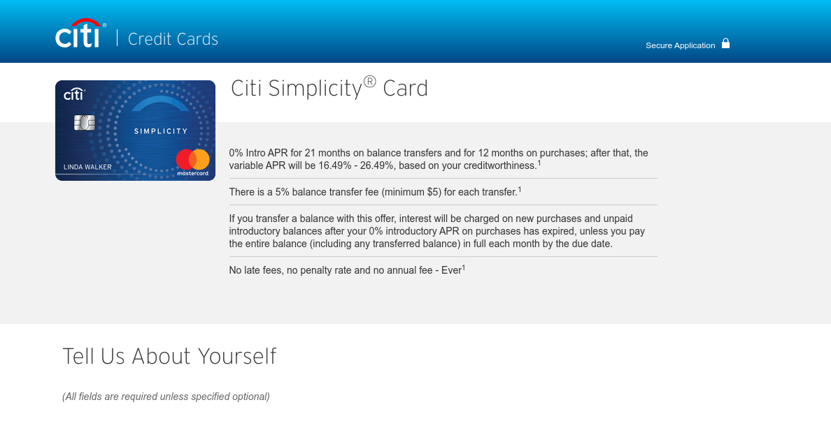 Citibank Citi Simlycity Card Apply
