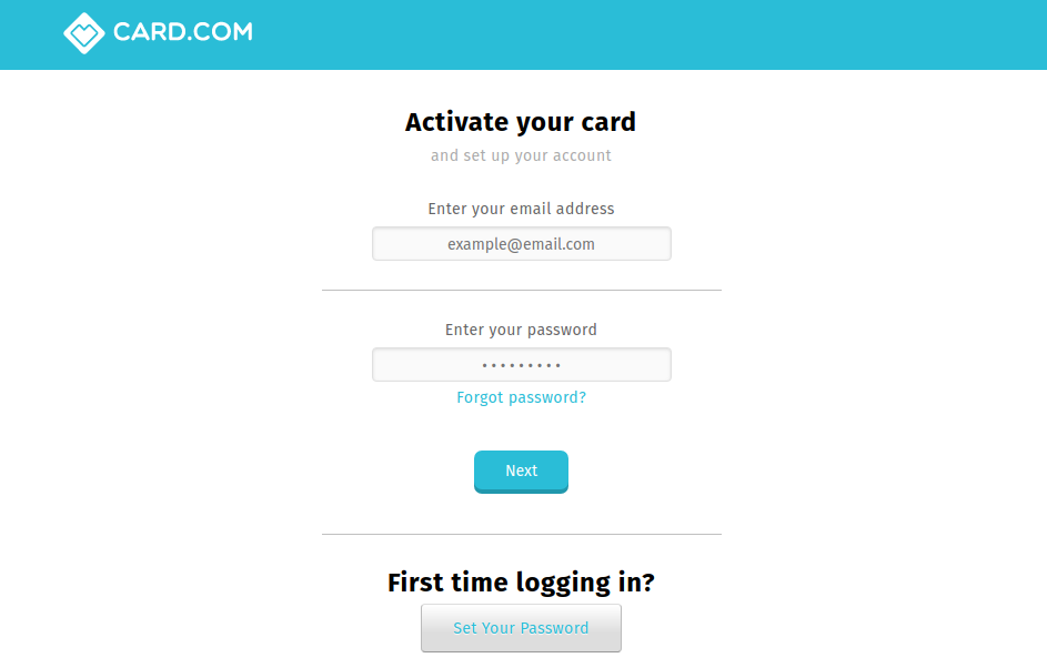 Activate your card CARD com