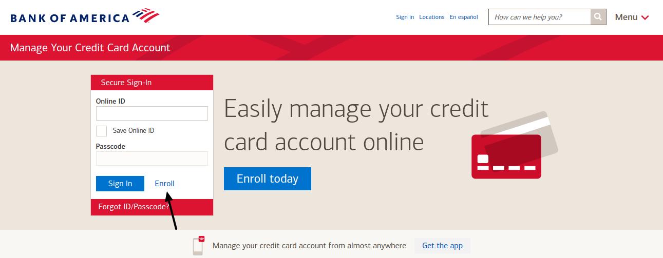 Bank of America Credit Card Enroll