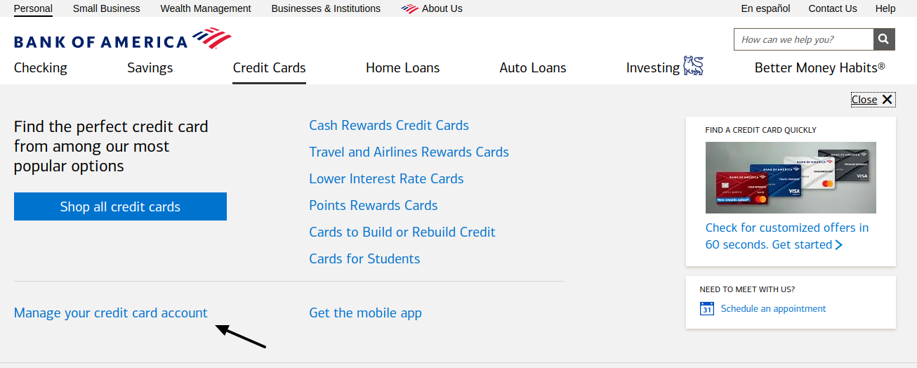 Bank of America Manage Your Account