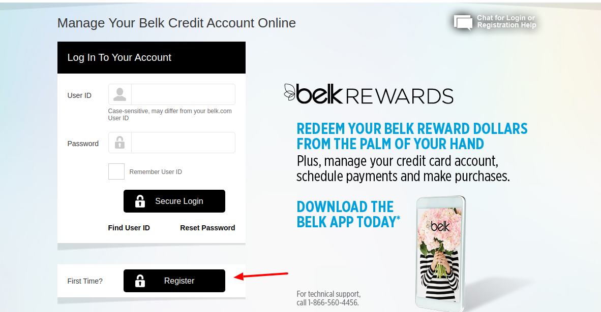 Belk Credit Card Register