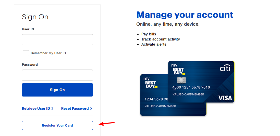 Best Buy Credit Card Register