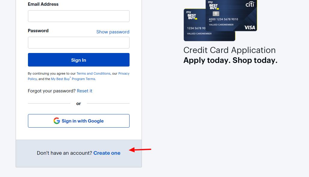 BestBuy Credit Card Create Account
