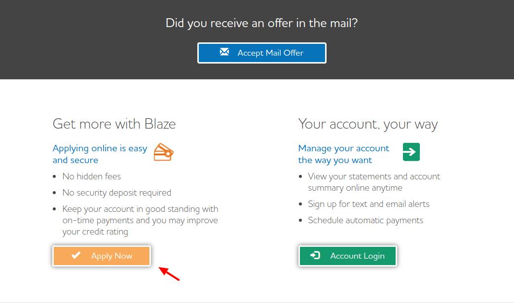 Blaze Mastercard Credit Card Apply