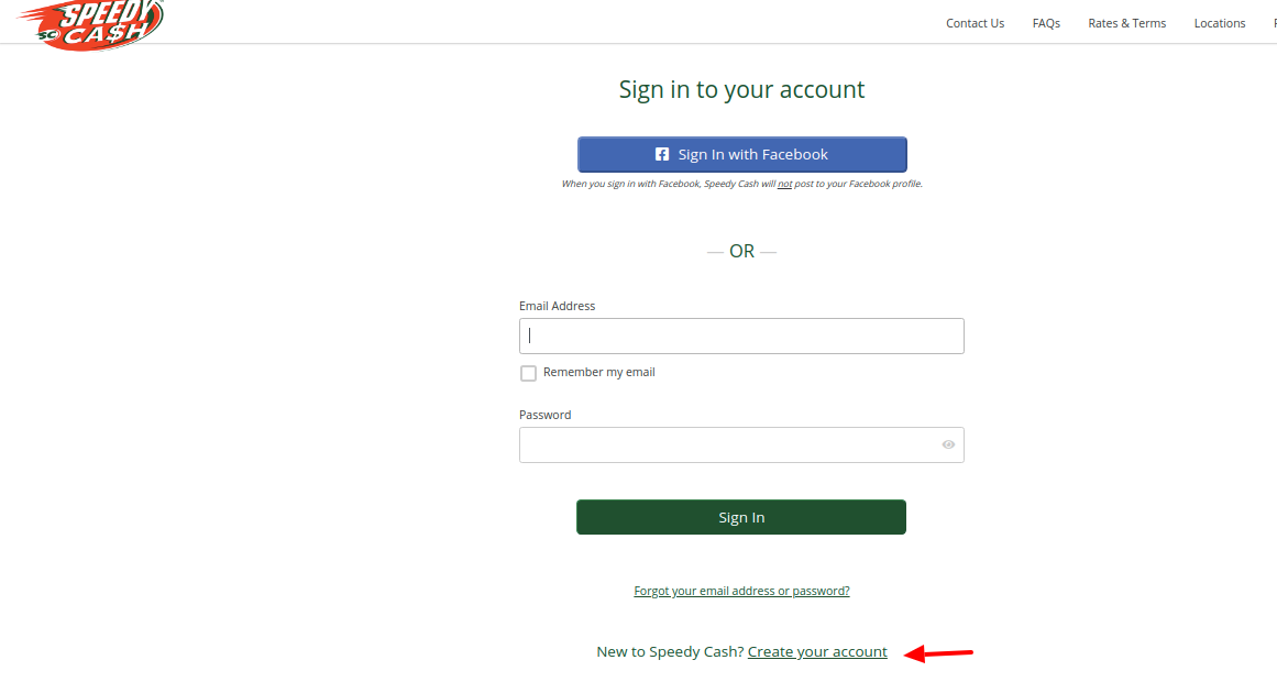 Speedy Cash Create Account