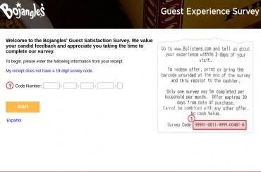 Bojangles guest survey