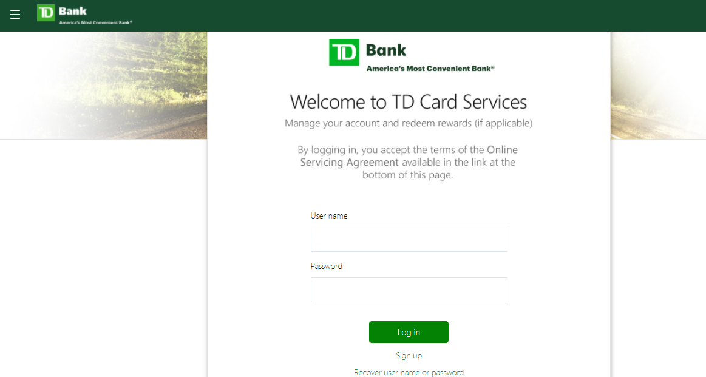 td card services login